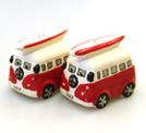 VW CAMPER VAN CERAMIC CRUET SET RED